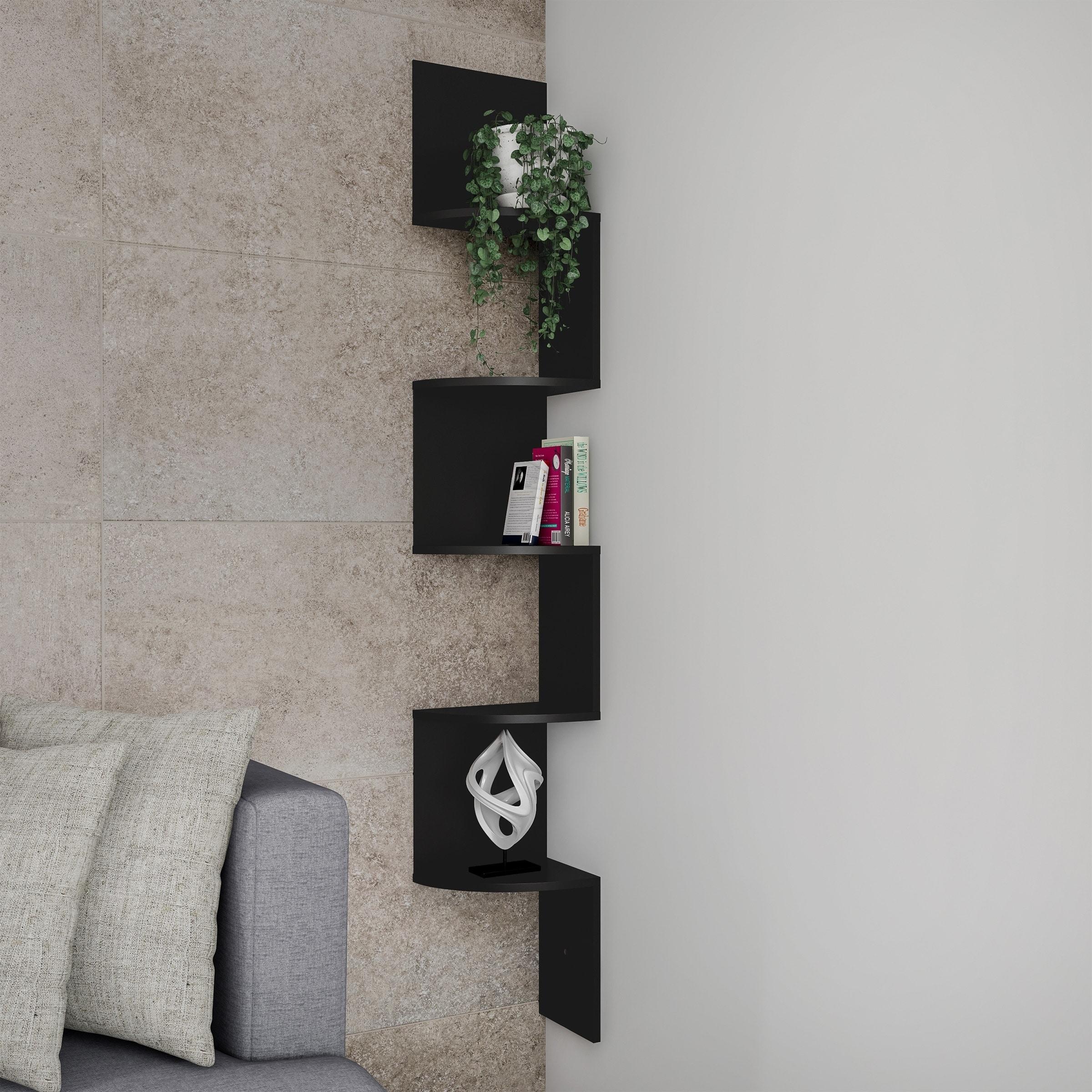 Floating Corner Shelf 5 Tier Wall Shelves With Hidden Brackets By Lavish Home