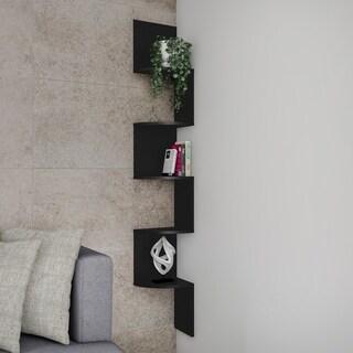 Floating Corner Shelf- 5 Tier Wall Shelves with Hidden Brackets by Lavish Home