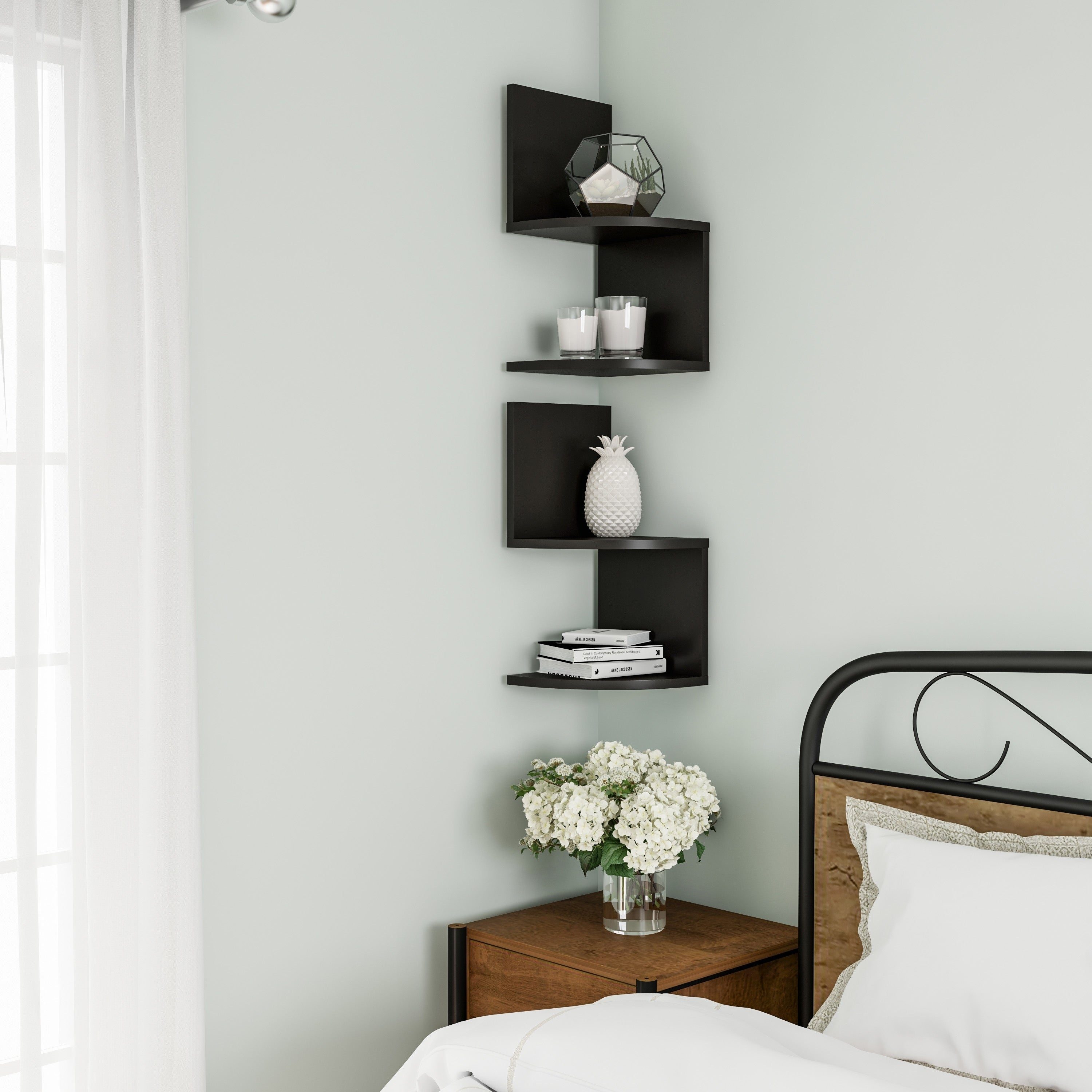 Floating Corner Shelf 2 Tier Wall Shelves With Hidden Brackets By Lavish Home Overstock 26459214 Black