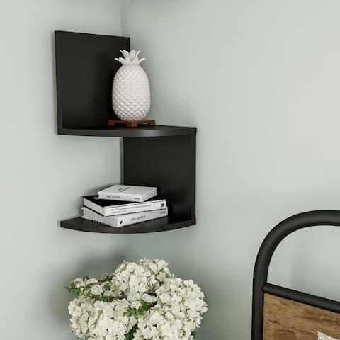 Floating Corner Shelf- 2 Tier Wall Shelves with Hidden Brackets by Lavish Home