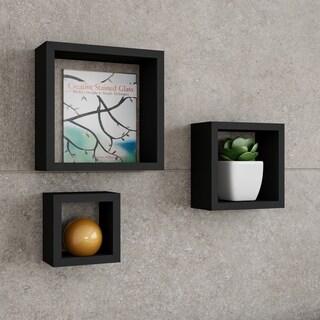 Floating Shelves- Cube Wall Shelf Set with Hidden Brackets, 3 Sizes by Lavish Home