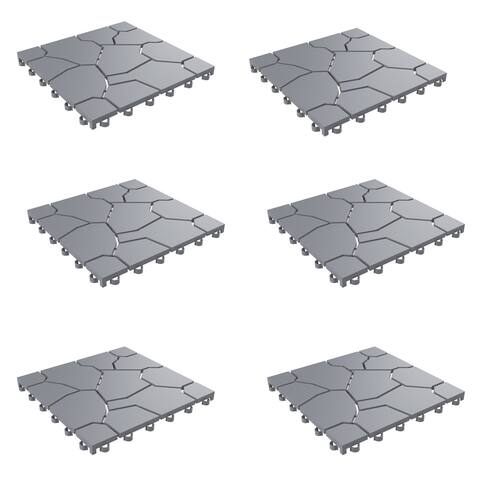 Patio and Deck Tiles Set of 6- Interlocking Stone Look Outdoor Flooring Pavers by Pure Garden