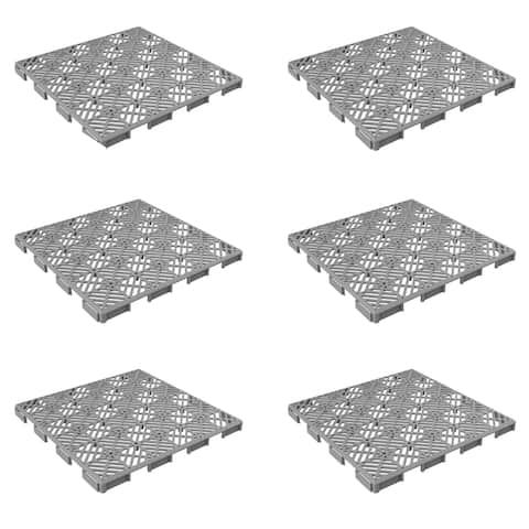 Patio and Deck Tiles Set of 6- Interlocking Diamond Pattern Outdoor Flooring Pavers by Pure Garden