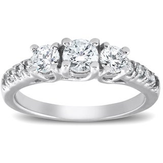 Bliss 14k White Gold 1 1/10 Ct TDW Three Stone Diamond Engagement Ring