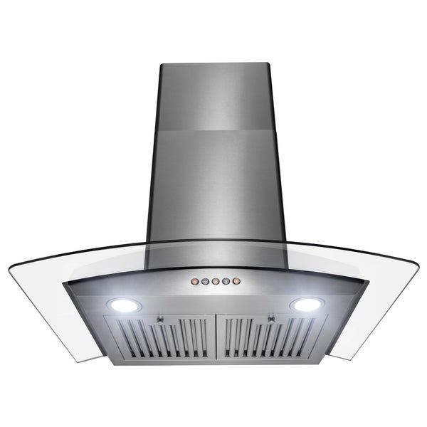 Golden Vantage 30 in. Stainless Steel and Tempered Glass with Push Control Kitchen Range Hood