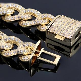 Link to Auriya Men's 14k Gold 12.54ctw Cuban Link Diamond Bracelet 9-inch Similar Items in Men's Jewelry