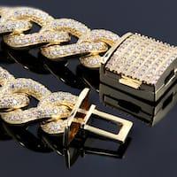 Auriya Men's 14k Gold 12.54ctw Cuban Link Diamond Bracelet 9-inch