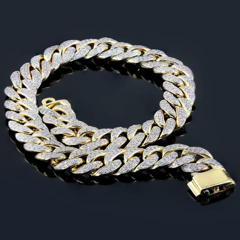 Auriya Men's 14k Gold 2 1/2 carat TW Diamond Curb Bracelet 8.5-inch