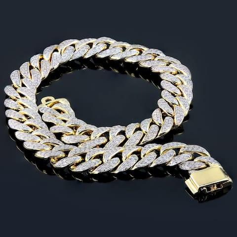 Auriya Men's 14k Gold 2 1/2 carat TW Diamond Curb Bracelet 8.5-inch