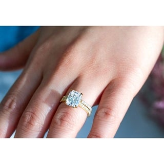 Link to Annello by Kobelli 14k Gold 3 2/5ct TDW Radiant Moissanite and Diamond Drop Halo Bridal Ring Set Similar Items in Rings