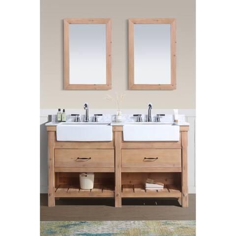 Ari Kitchen & Bath Marina Driftwood-finish Wood/Carrara Marble 60-inch Bathroom Vanity