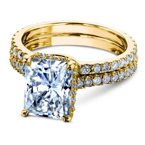 Annello by Kobelli 14k Gold 3 2/5ct TDW Moissanite and Diamond Drop Halo Bridal Ring Set