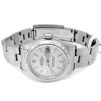 Pre-owned 26mm Rolex Stainless Steel Oyster Perpetual Datejust Watch with Silver Dial - N/A