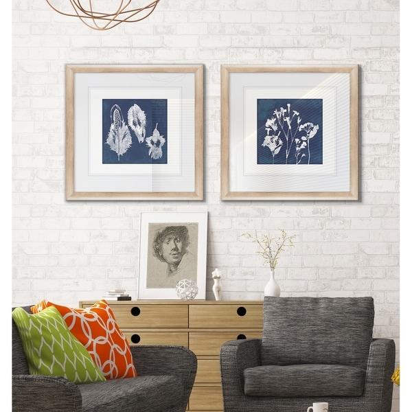 Cyanotype Botanical I -2 Piece Set - 16 x 16
