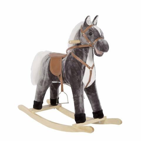 Kinbor Kids Rocking Horse Plush Ride on Toy Animal Rocker w/ Sound Children's Day Birthday Gift