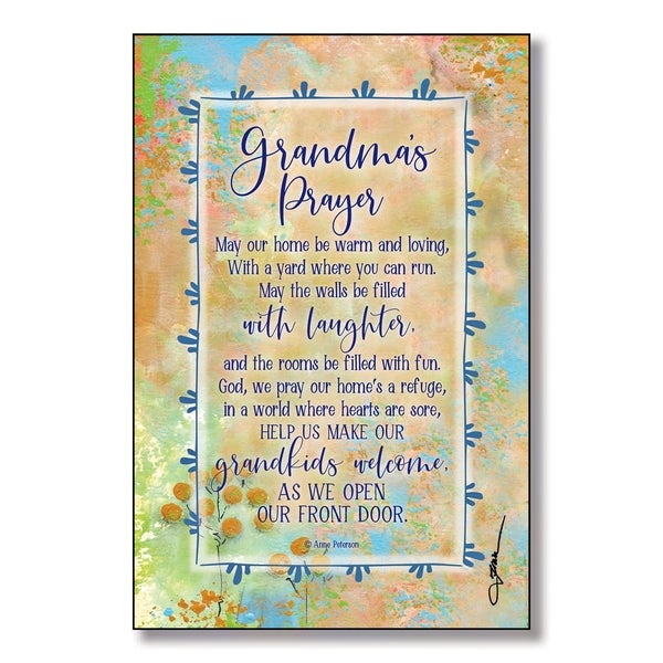 Grandma's Prayer Wood Plaque with Easel and Hanger 6 inches x 9 inches