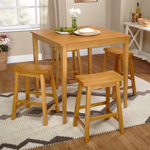 Simple living belfast 5 piece saddle dining set free for Dining room tables belfast