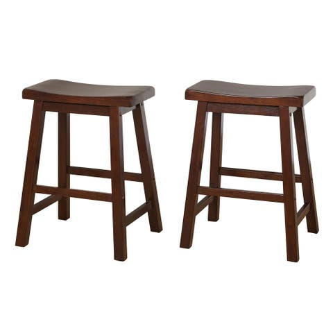 Simple Living Belfast 24-inch Saddle Counter Stool (Set of 2)