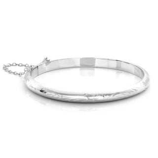 Sterling Essentials Sterling Silver 6-inch Engraved Tween Bangle Bracelet