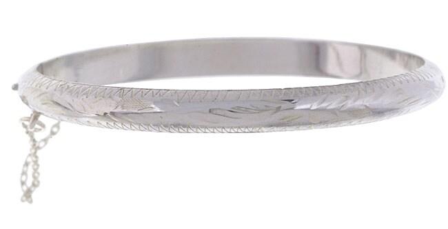 Sterling Essentials Sterling Silver 6-inch Engraved Tween Bangle Bracelet