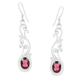 Sterling Silver Garnet Earrings (Nepal)
