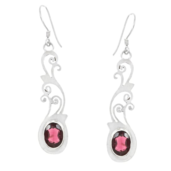 Sterling Silver Garnet Earrings (Nepal)