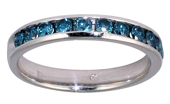 Marquee Jewels 14k White Gold 1/2ct TDW Blue Diamond Channel Band - Thumbnail 0