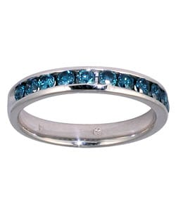Marquee Jewels 14k White Gold 1/2ct TDW Blue Diamond Channel Band