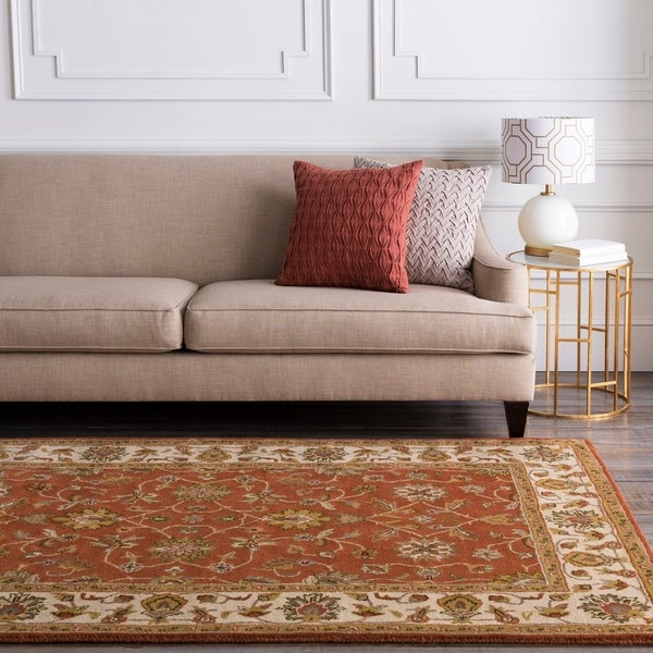 Hand-tufted Camelot Burgundy Wool Area Rug - 10' x 14'