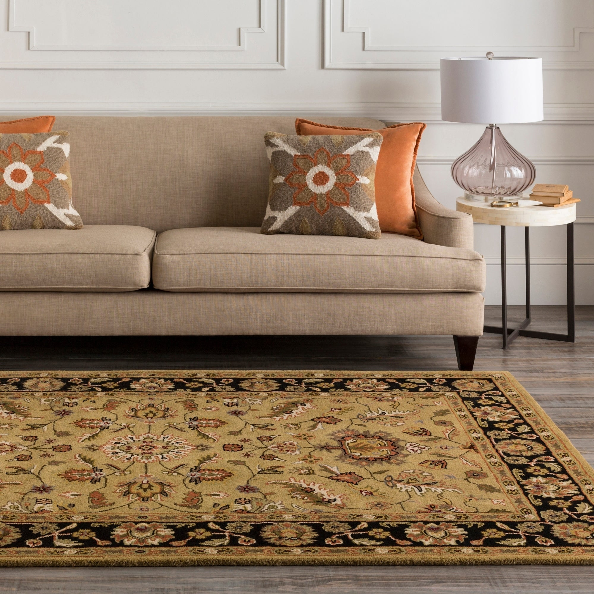 Hand Tufted Camelot Gold Floral Wool Area Rug 2 6 X 8 Runner Overstock 2647350