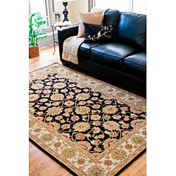 Hand-tufted Camelot Black Wool Rug (4' x 6') - Thumbnail 1