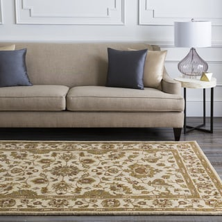 Hand-tufted Camelot Ivory Floral Border Wool Rug (4' x 6')