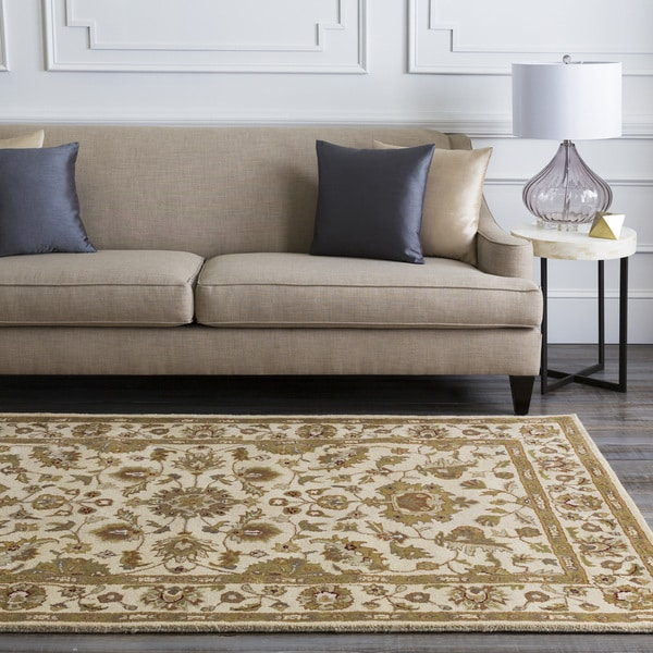 Hand-tufted Camelot Ivory Floral Border Wool Area Rug - 5' x 8'