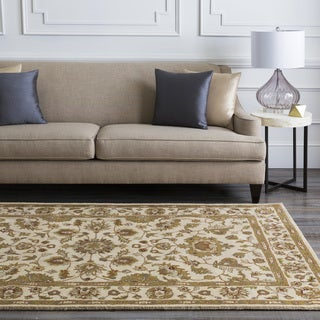Hand-tufted Camelot Ivory Floral Border Wool Rug (5' x 8')