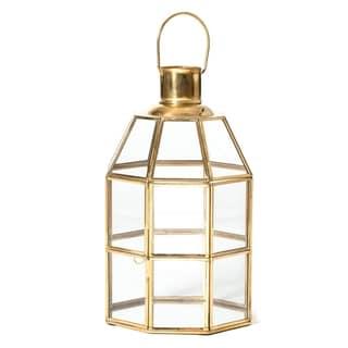 "Newton Octagonal Brass Lantern - 7""x7""x12"""