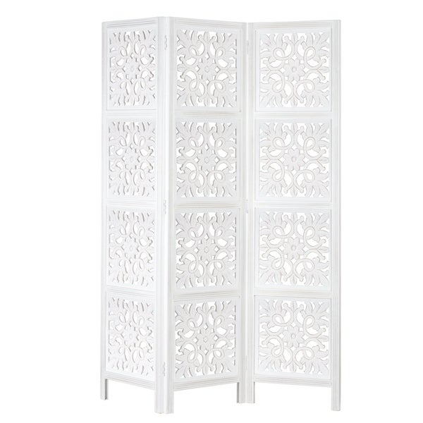 Macro Decorative Floor Screen In White by Madeleine Home