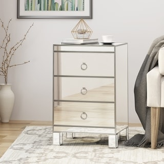 Link to Bandara Modern Mirrored 3 Drawer Cabinet by Christopher Knight Home Similar Items in Living Room Furniture