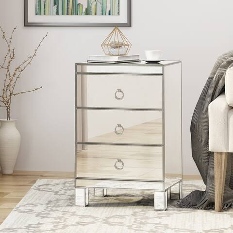 Bandara Modern Mirrored 3 Drawer Cabinet by Christopher Knight Home