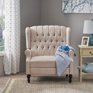 Apaloosa Oversized Tufted Fabric Push Back Recliner by Christopher Knight Home