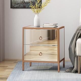 Ardith Glam Mirrored 2 Drawer Cabinet by Christopher Knight Home