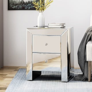 De Anna Modern Mirrored Two Drawer Cabinet by Christopher Knight Home