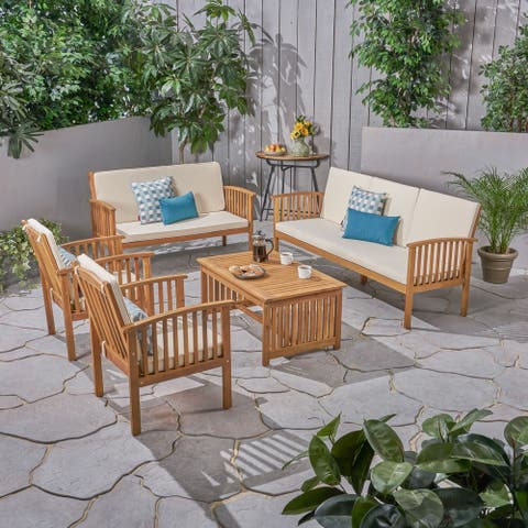 Carolina Outdoor 5 Piece Acacia Wood Conversational Set by Christopher Knight Home