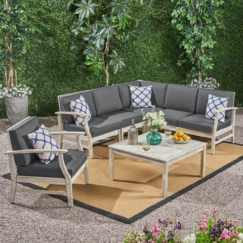 Perla Outdoor 7 Piece Acacia Wood Sectional Sofa and Club Chair Set by Christopher Knight Home