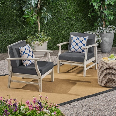 Perla Outdoor Acacia Wood Club Chairs (Set of 2) by Christopher Knight Home