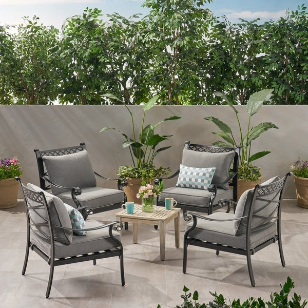 Westlake Outdoor Aluminum Club Chairs Set Of 4 By Christopher Knight Home