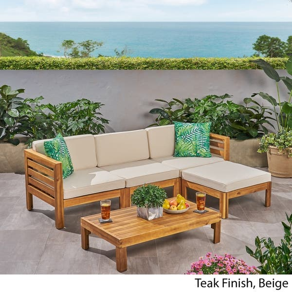 Outdoor 5 Piece Acacia Wood Sofa Set