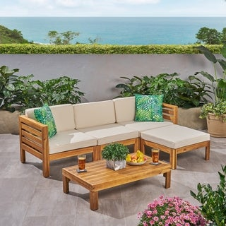 Cambridge Outdoor 5 Piece Acacia Wood Sofa Set by Christopher Knight Home