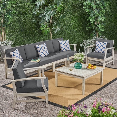 Perla Outdoor 7 Piece Acacia Wood Sofa and Club Chairs Set by Christopher Knight Home