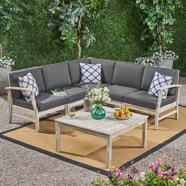Shop Perla Outdoor 6 Piece Acacia Wood Sectional Sofa and ...