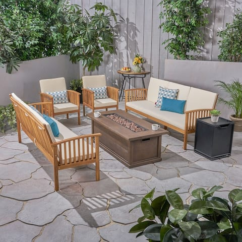 Carolina Outdoor 6 Piece Acacia Wood Sofa Conversational Set with Fire Pit by Christopher Knight Home